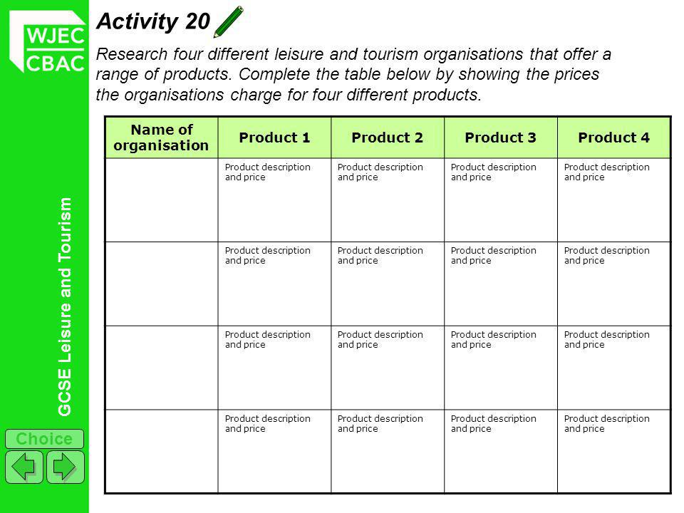 GCSE Leisure and Tourism Choice Activity 20 Research four different leisure and tourism organisations that offer a range of products. Complete the tab
