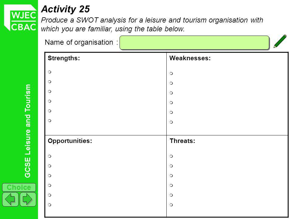 GCSE Leisure and Tourism Choice Activity 25 Produce a SWOT analysis for a leisure and tourism organisation with which you are familiar, using the table below.