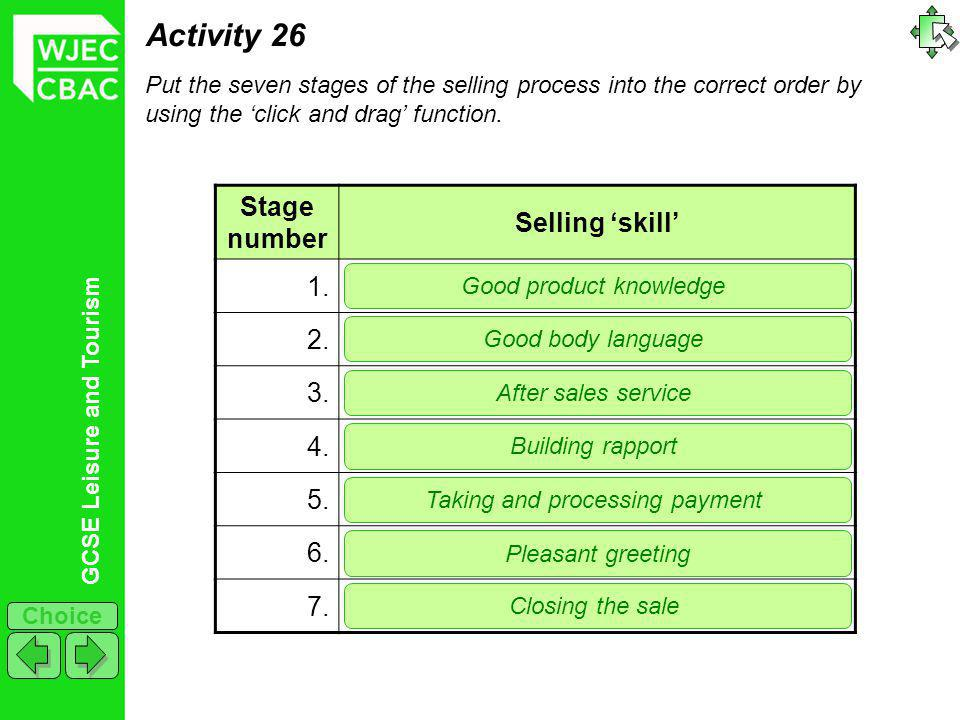 GCSE Leisure and Tourism Choice Activity 26 Put the seven stages of the selling process into the correct order by using the click and drag function.