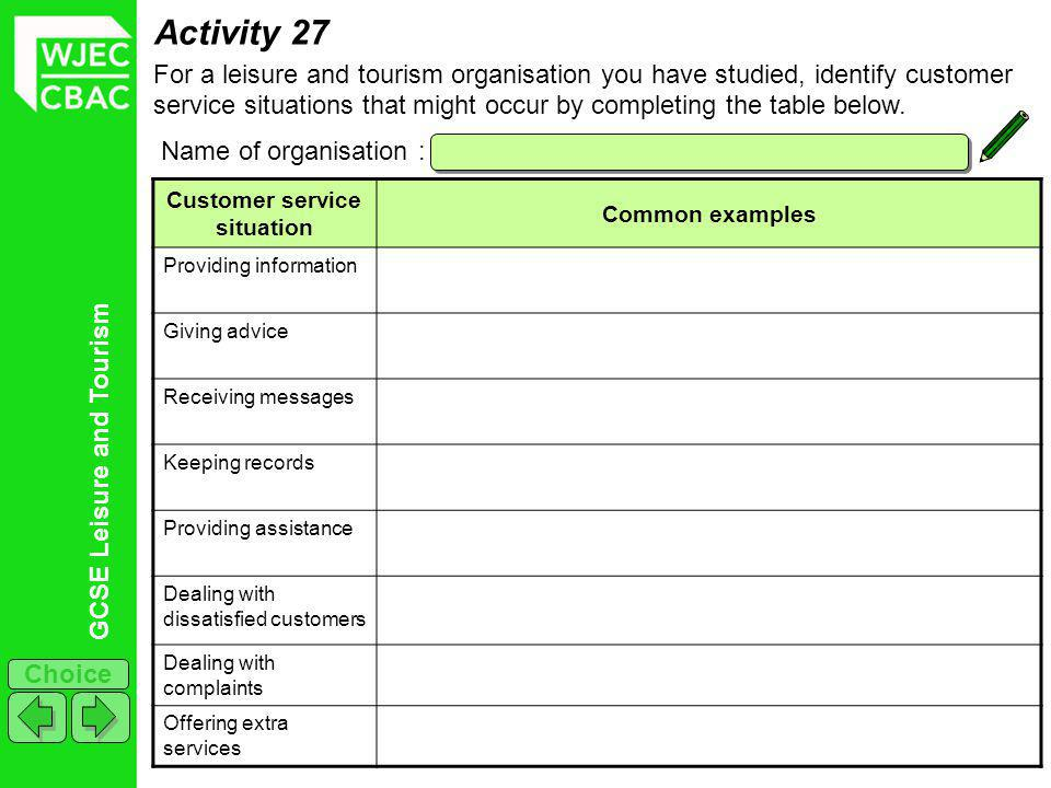 GCSE Leisure and Tourism Choice Activity 27 For a leisure and tourism organisation you have studied, identify customer service situations that might occur by completing the table below.