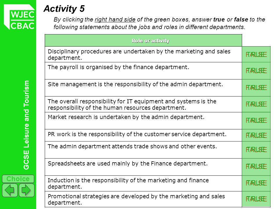 GCSE Leisure and Tourism Choice FALSE Activity 5 By clicking the right hand side of the green boxes, answer true or false to the following statements about the jobs and roles in different departments.