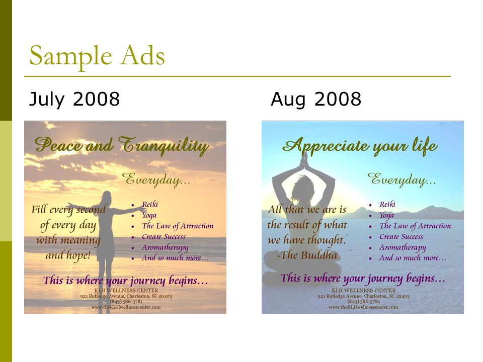 Sample Ads July 2008Aug 2008