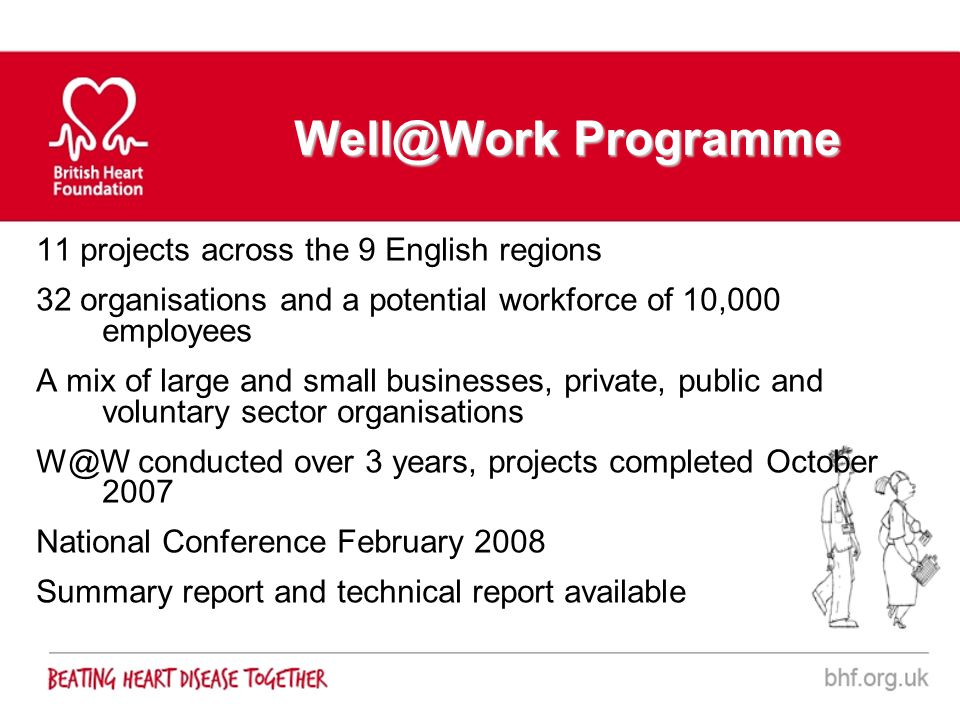Well@Work Programme 11 projects across the 9 English regions 32 organisations and a potential workforce of 10,000 employees A mix of large and small b