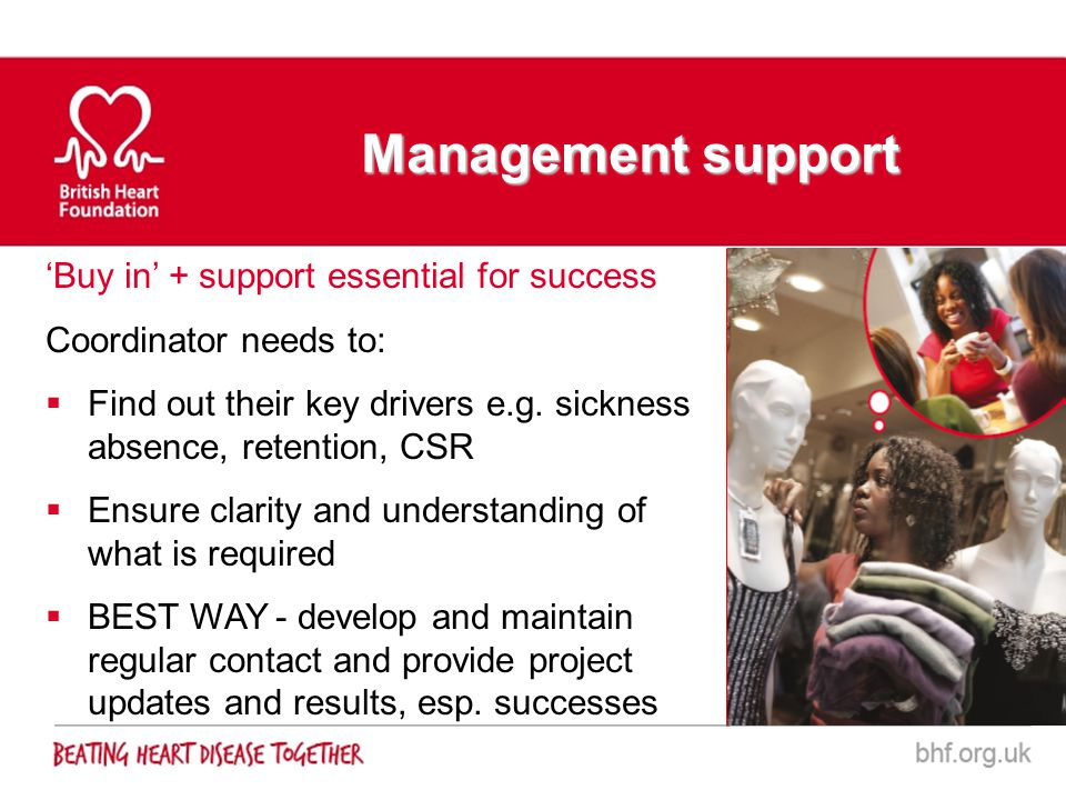 Buy in + support essential for success Coordinator needs to: Find out their key drivers e.g. sickness absence, retention, CSR Ensure clarity and under