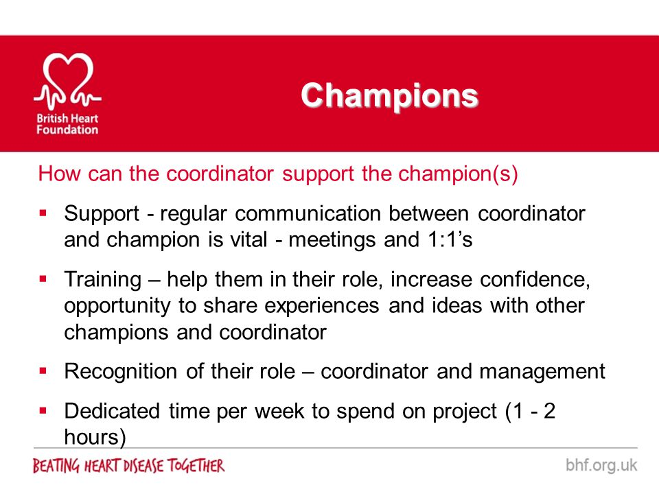 Champions How can the coordinator support the champion(s) Support - regular communication between coordinator and champion is vital - meetings and 1:1