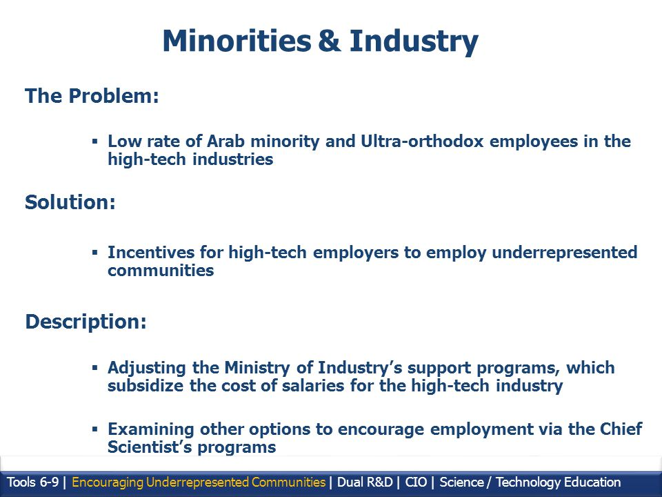 20 The Problem: Low rate of Arab minority and Ultra-orthodox employees in the high-tech industries Solution: Incentives for high-tech employers to employ underrepresented communities Description: Adjusting the Ministry of Industrys support programs, which subsidize the cost of salaries for the high-tech industry Examining other options to encourage employment via the Chief Scientists programs Tools 6-9 | Encouraging Underrepresented Communities | Dual R&D | CIO | Science / Technology Education Minorities & Industry