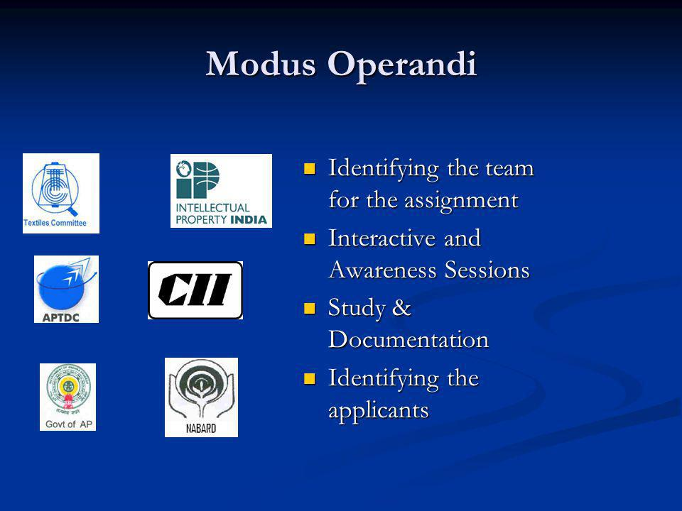 Modus Operandi Identifying the team for the assignment Interactive and Awareness Sessions Study & Documentation Identifying the applicants