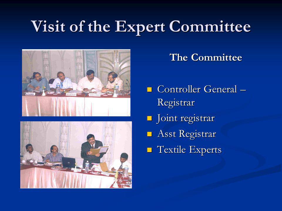 Visit of the Expert Committee The Committee Controller General – Registrar Joint registrar Asst Registrar Textile Experts