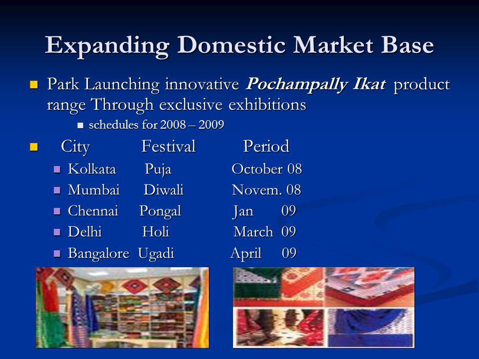 Expanding Domestic Market Base Park Launching innovative Pochampally Ikat product range Through exclusive exhibitions Park Launching innovative Pocham