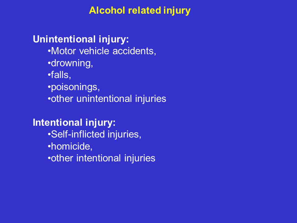 Alcohol related injury Unintentional injury: Motor vehicle accidents, drowning, falls, poisonings, other unintentional injuries Intentional injury: Self-inflicted injuries, homicide, other intentional injuries