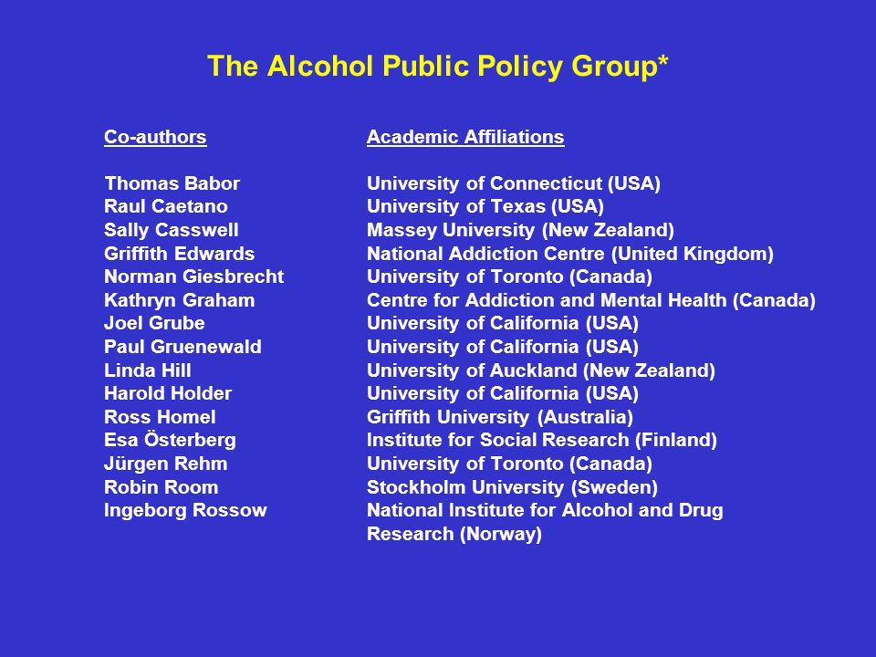 The Alcohol Public Policy Group* Co-authorsAcademic Affiliations Thomas BaborUniversity of Connecticut (USA) Raul CaetanoUniversity of Texas (USA) Sally Casswell Massey University (New Zealand) Griffith Edwards National Addiction Centre (United Kingdom) Norman Giesbrecht University of Toronto (Canada) Kathryn GrahamCentre for Addiction and Mental Health (Canada) Joel Grube University of California (USA) Paul Gruenewald University of California (USA) Linda HillUniversity of Auckland (New Zealand) Harold HolderUniversity of California (USA) Ross HomelGriffith University (Australia) Esa ÖsterbergInstitute for Social Research (Finland) Jürgen Rehm University of Toronto (Canada) Robin RoomStockholm University (Sweden) Ingeborg RossowNational Institute for Alcohol and Drug Research (Norway)