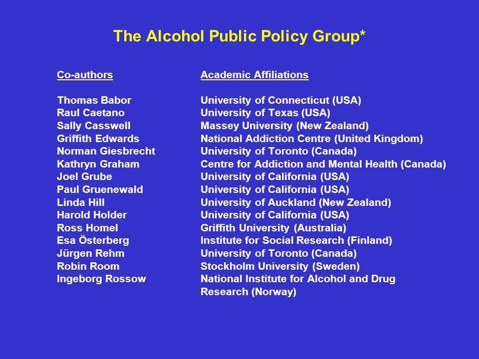 The Alcohol Public Policy Group* Co-authorsAcademic Affiliations Thomas BaborUniversity of Connecticut (USA) Raul CaetanoUniversity of Texas (USA) Sal