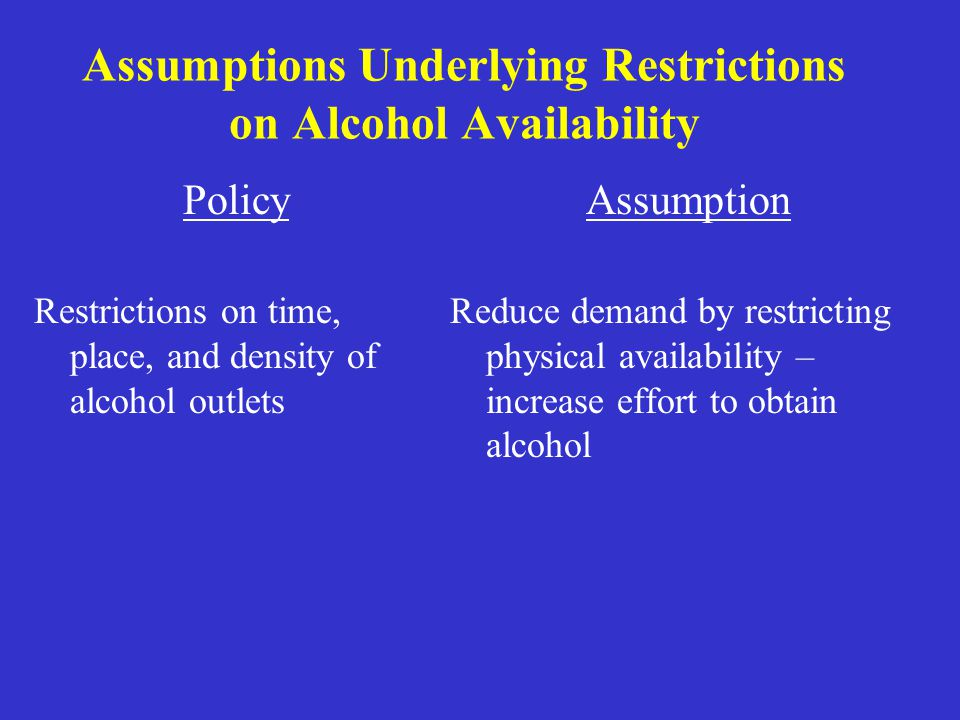 Assumptions Underlying Restrictions on Alcohol Availability Policy Restrictions on time, place, and density of alcohol outlets Assumption Reduce deman