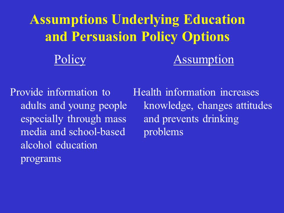 Assumptions Underlying Education and Persuasion Policy Options Policy Provide information to adults and young people especially through mass media and