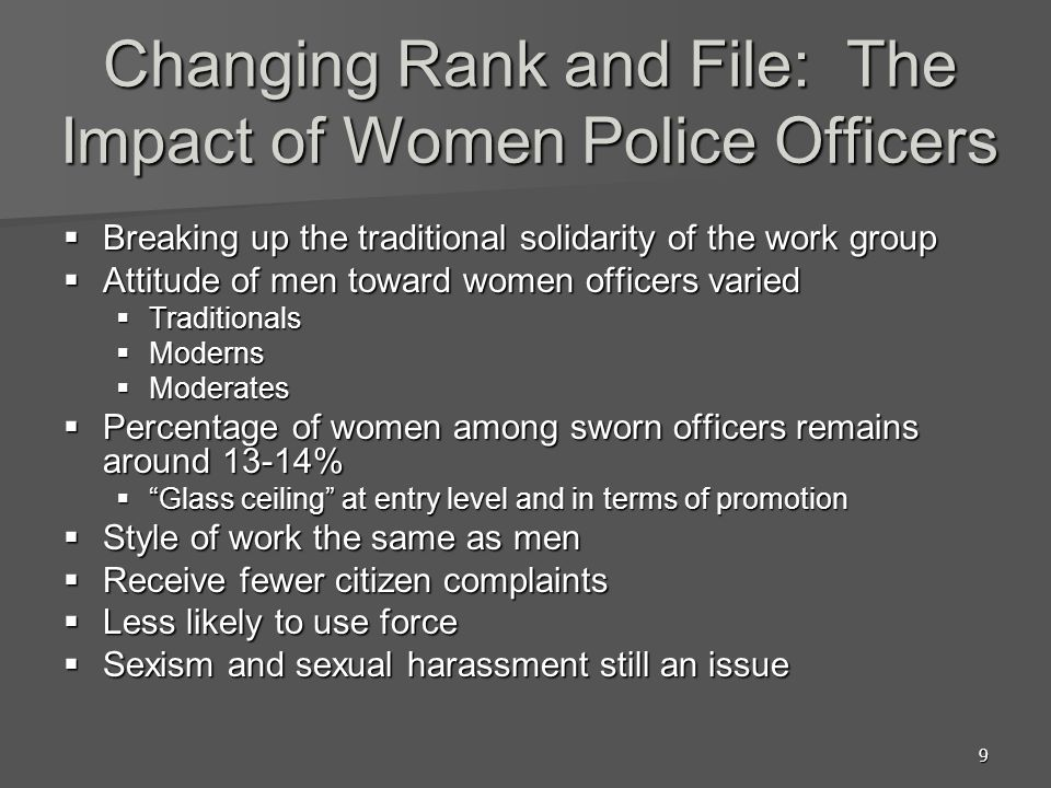 9 Changing Rank and File: The Impact of Women Police Officers Breaking up the traditional solidarity of the work group Breaking up the traditional solidarity of the work group Attitude of men toward women officers varied Attitude of men toward women officers varied Traditionals Traditionals Moderns Moderns Moderates Moderates Percentage of women among sworn officers remains around 13-14% Percentage of women among sworn officers remains around 13-14% Glass ceiling at entry level and in terms of promotion Glass ceiling at entry level and in terms of promotion Style of work the same as men Style of work the same as men Receive fewer citizen complaints Receive fewer citizen complaints Less likely to use force Less likely to use force Sexism and sexual harassment still an issue Sexism and sexual harassment still an issue