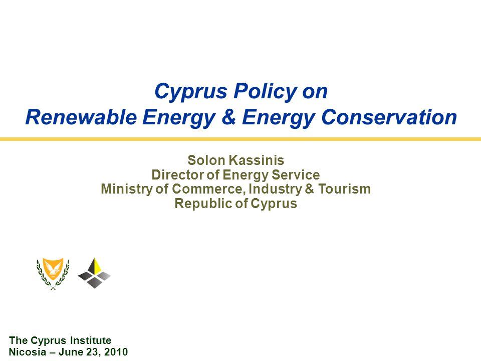 Cyprus Energy System: Main Indicators Primary Energy Consumption – 2009 Final Energy Consumption – 2009 Final Energy Consumption by Sector – 2009 2009 Primary Energy Consumption: 2 803ktoe Final Energy Consumption: 1 924ktoe Gross Final Energy Consumption: 1 964ktoe RES Production: 95 ktoe