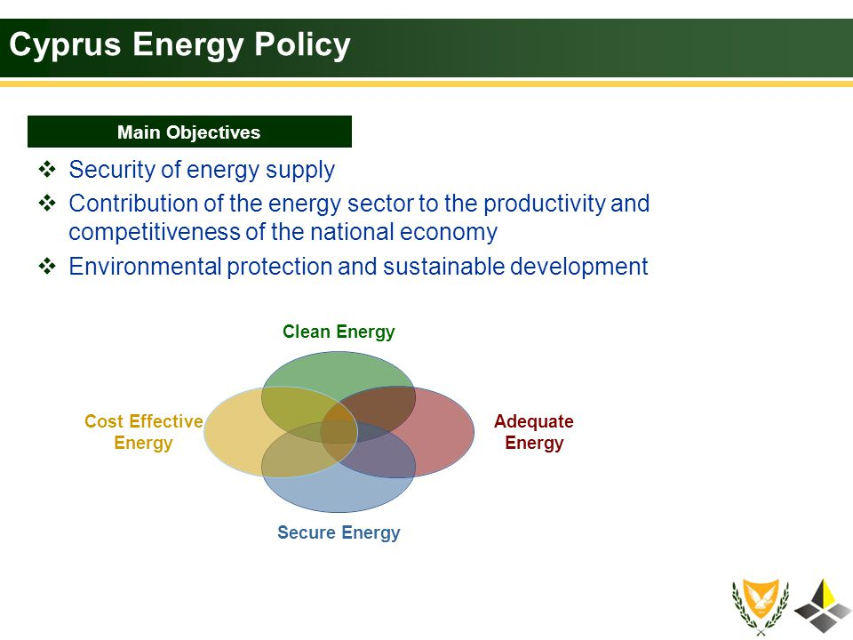 Cyprus Energy Policy – RES & Energy Saving Maximizing the efficient use of domestic resources of renewable energy Saving energy both in primary form and in energy end-use Promote RES in electricity and heat generation Replace oil in the area of transportation with biofuels Promote efficient electricity and heat co-generation in industries Adopt investments in RES based on the criterion of the overall net benefit Making efficient use of energy by putting into place mechanisms that give incentives to users Efficiently develop RES stations based on physical planning Limit bureaucracy and simplify all licensing procedures Growth energy awareness Main Priorities