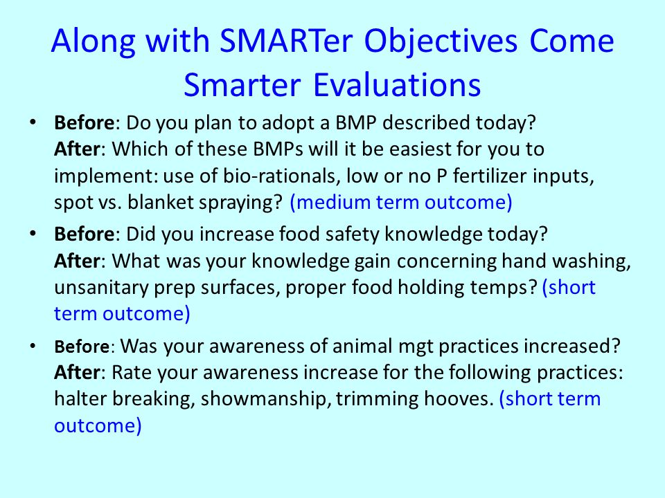 Along with SMARTer Objectives Come Smarter Evaluations Before: Do you plan to adopt a BMP described today.