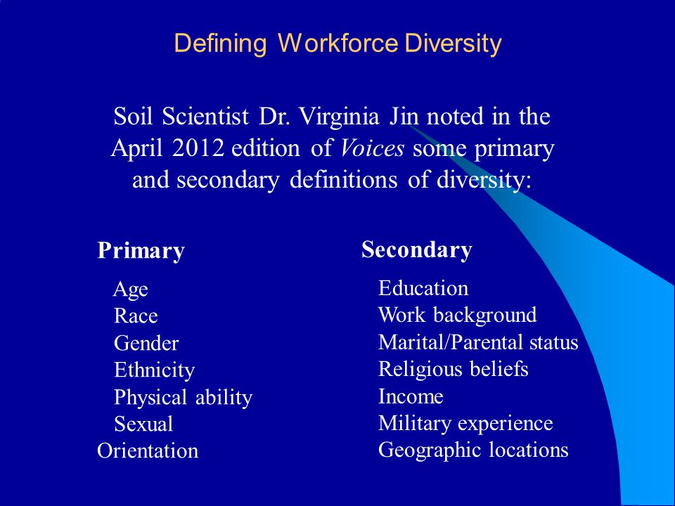 Defining Workforce Diversity Soil Scientist Dr. Virginia Jin noted in the April 2012 edition of Voices some primary and secondary definitions of diver