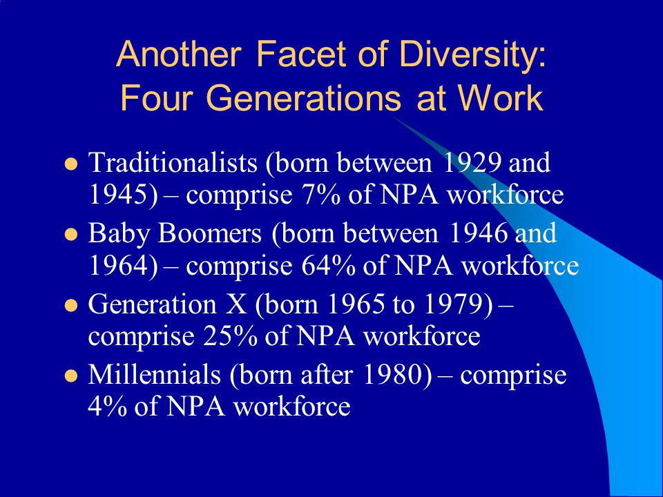 Another Facet of Diversity: Four Generations at Work Traditionalists (born between 1929 and 1945) – comprise 7% of NPA workforce Baby Boomers (born between 1946 and 1964) – comprise 64% of NPA workforce Generation X (born 1965 to 1979) – comprise 25% of NPA workforce Millennials (born after 1980) – comprise 4% of NPA workforce