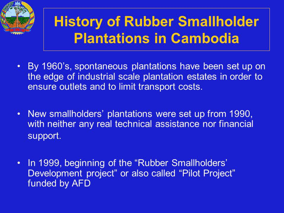 History of Rubber Smallholder Plantations in Cambodia By 1960s, spontaneous plantations have been set up on the edge of industrial scale plantation estates in order to ensure outlets and to limit transport costs.