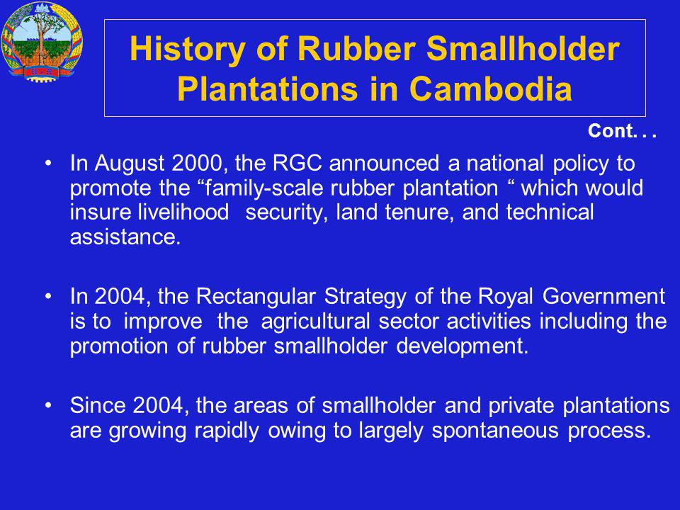 In August 2000, the RGC announced a national policy to promote the family-scale rubber plantation which would insure livelihood security, land tenure,