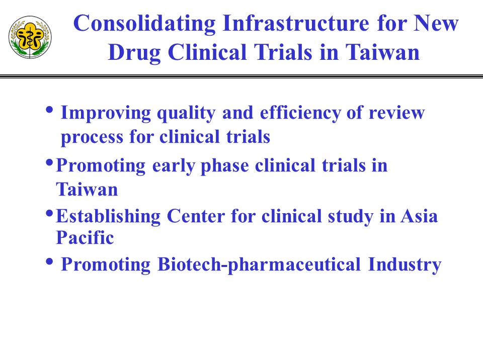Consolidating Infrastructure for New Drug Clinical Trials in Taiwan Improving quality and efficiency of review process for clinical trials Promoting e
