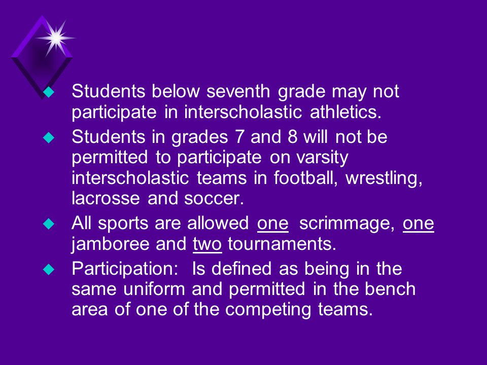 u Students below seventh grade may not participate in interscholastic athletics.