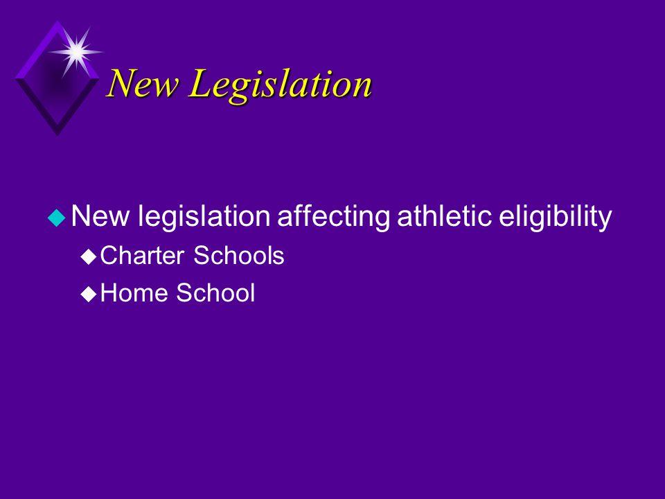 New Legislation u New legislation affecting athletic eligibility u Charter Schools u Home School