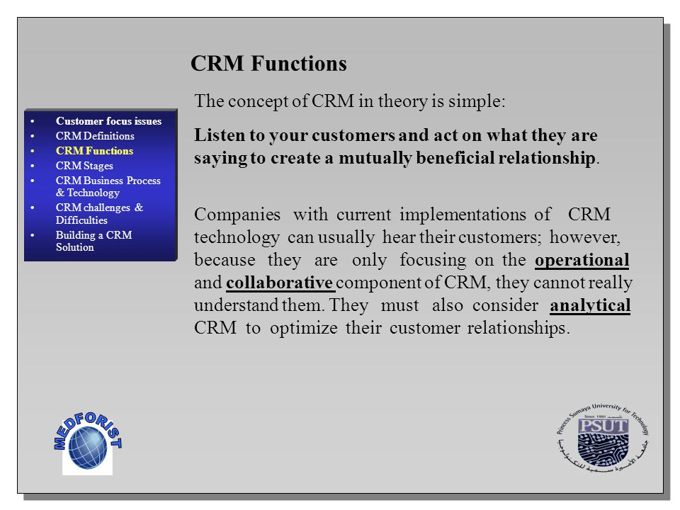 9 Customer focus issues CRM Definitions CRM Functions CRM Stages CRM Business Process & Technology CRM challenges & Difficulties Building a CRM Soluti