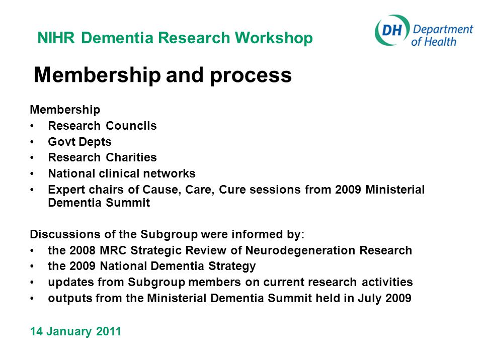 NIHR Dementia Research Workshop 14 January 2011 Membership and process Membership Research Councils Govt Depts Research Charities National clinical networks Expert chairs of Cause, Care, Cure sessions from 2009 Ministerial Dementia Summit Discussions of the Subgroup were informed by: the 2008 MRC Strategic Review of Neurodegeneration Research the 2009 National Dementia Strategy updates from Subgroup members on current research activities outputs from the Ministerial Dementia Summit held in July 2009
