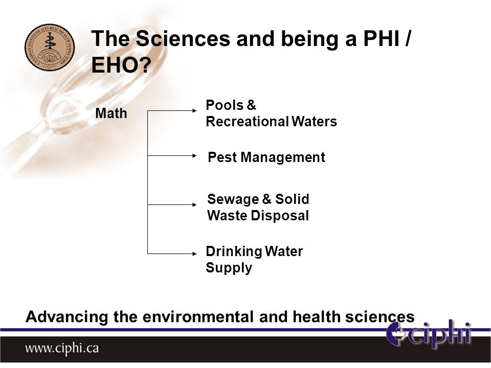 Math Pest Management Pools & Recreational Waters Drinking Water Supply Sewage & Solid Waste Disposal The Sciences and being a PHI / EHO.