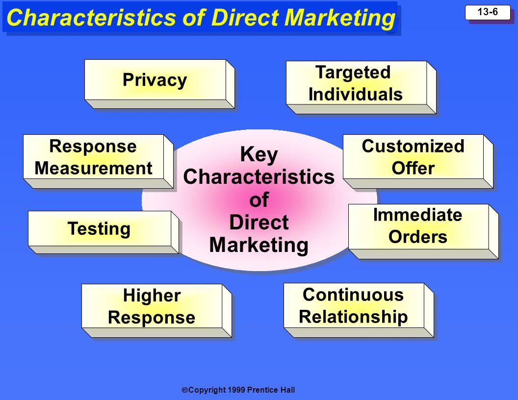 Copyright 1999 Prentice Hall 13-6 Characteristics of Direct Marketing Key Characteristics of Direct Marketing Key Characteristics of Direct Marketing