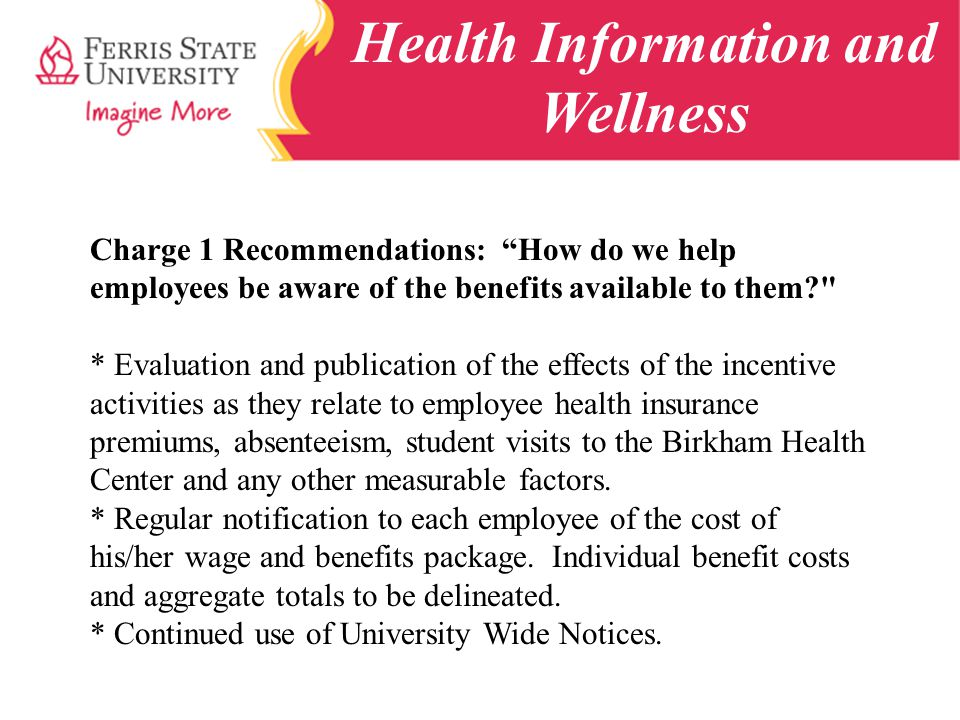 Health Information and Wellness Charge 1 Recommendations: How do we help employees be aware of the benefits available to them? * Evaluation and publication of the effects of the incentive activities as they relate to employee health insurance premiums, absenteeism, student visits to the Birkham Health Center and any other measurable factors.