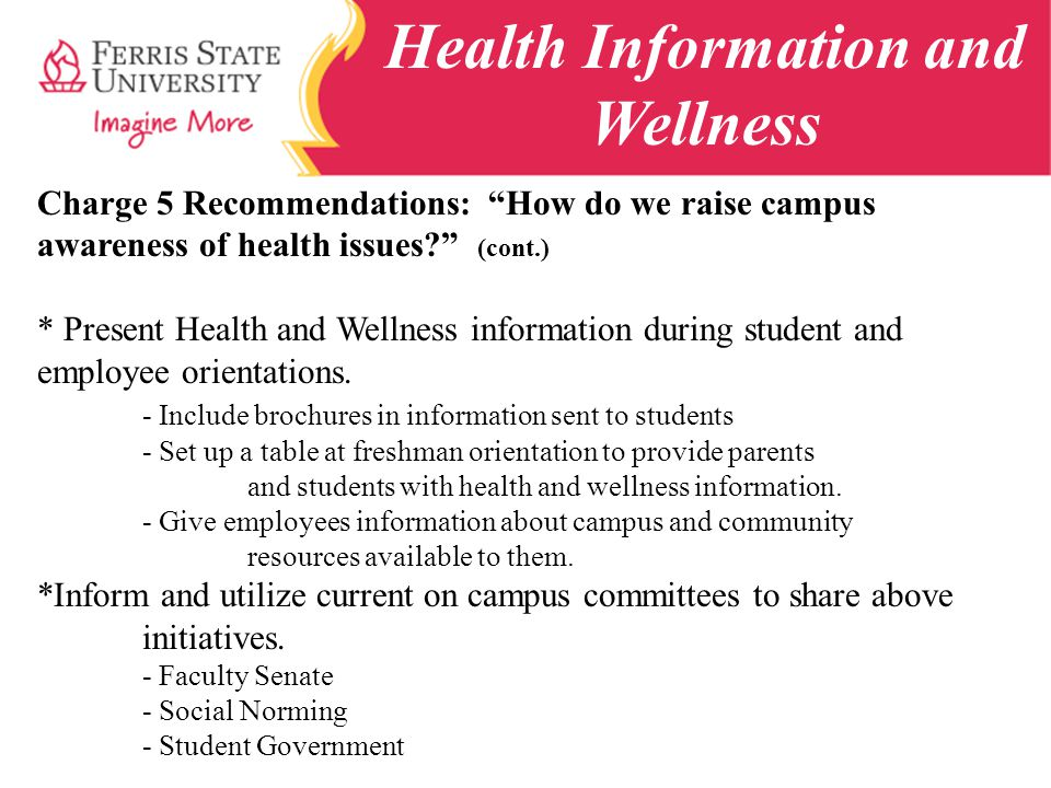 Health Information and Wellness Charge 5 Recommendations: How do we raise campus awareness of health issues.