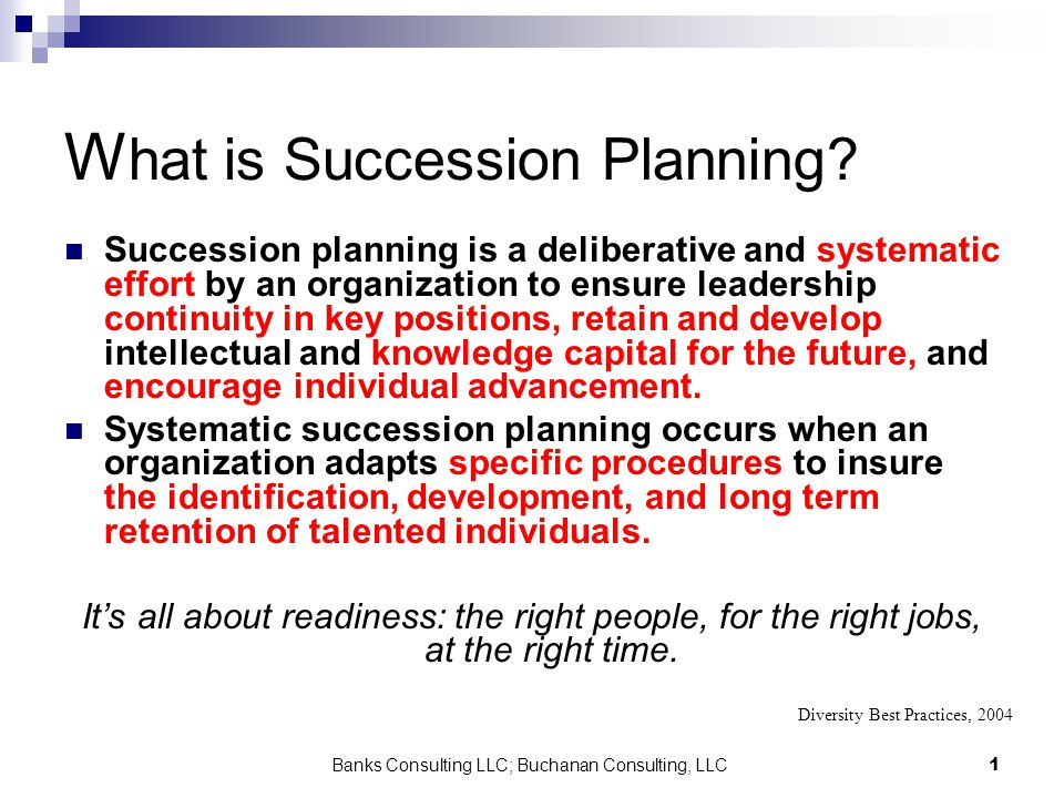 Banks Consulting LLC; Buchanan Consulting, LLC1 W hat is Succession Planning? Succession planning is a deliberative and systematic effort by an organi