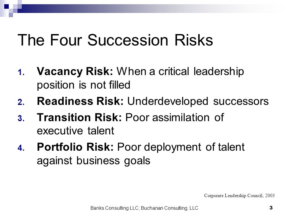 Banks Consulting LLC; Buchanan Consulting, LLC3 The Four Succession Risks 1. Vacancy Risk: When a critical leadership position is not filled 2. Readin