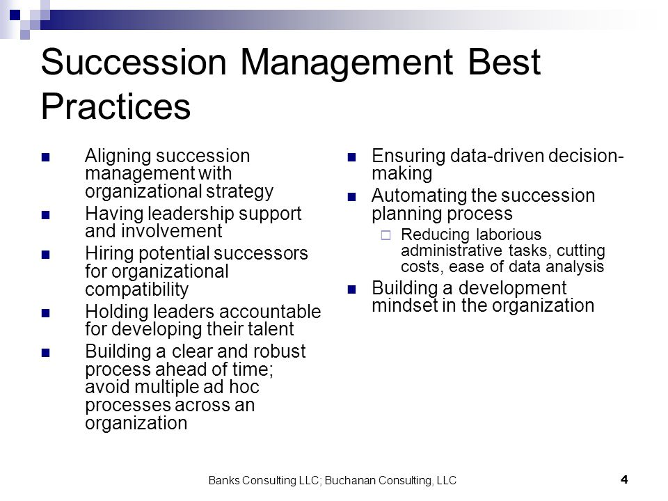 Banks Consulting LLC; Buchanan Consulting, LLC4 Succession Management Best Practices Aligning succession management with organizational strategy Havin