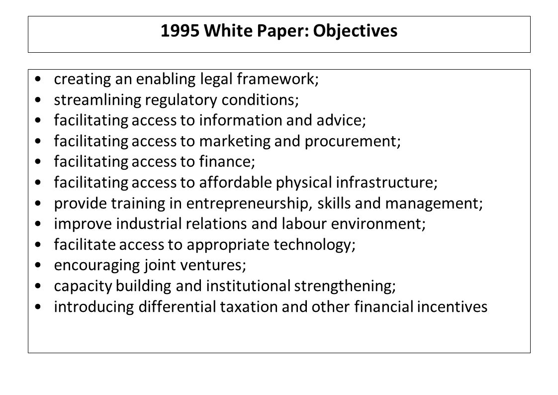 1995 White Paper: Objectives creating an enabling legal framework; streamlining regulatory conditions; facilitating access to information and advice; facilitating access to marketing and procurement; facilitating access to finance; facilitating access to affordable physical infrastructure; provide training in entrepreneurship, skills and management; improve industrial relations and labour environment; facilitate access to appropriate technology; encouraging joint ventures; capacity building and institutional strengthening; introducing differential taxation and other financial incentives