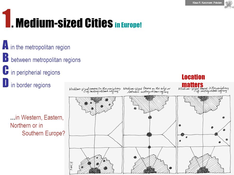 1. Medium-sized Cities in Europe! A in the metropolitan region B between metropolitan regions C in peripherial regions D in border regions Location ma