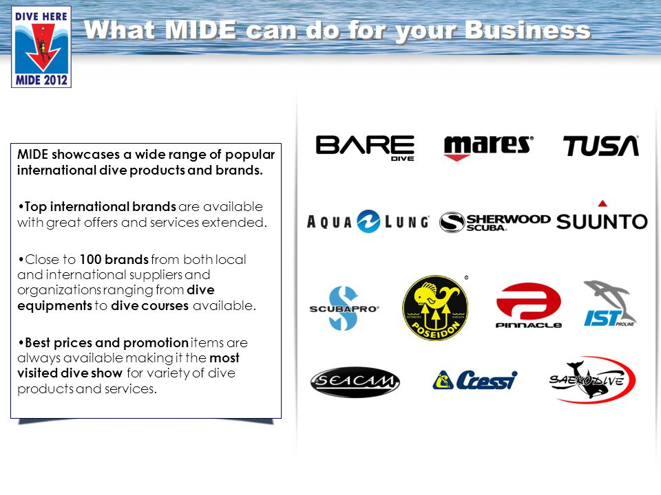 MIDE showcases a wide range of popular international dive products and brands.