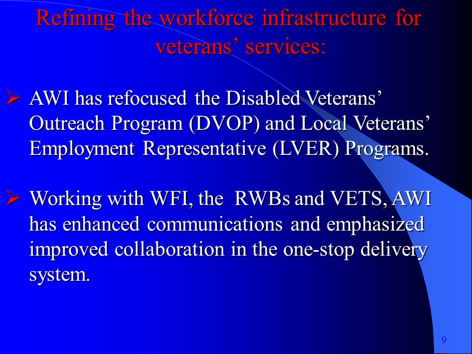 Refining the workforce infrastructure for veterans services: AWI has refocused the Disabled Veterans Outreach Program (DVOP) and Local Veterans Employment Representative (LVER) Programs.