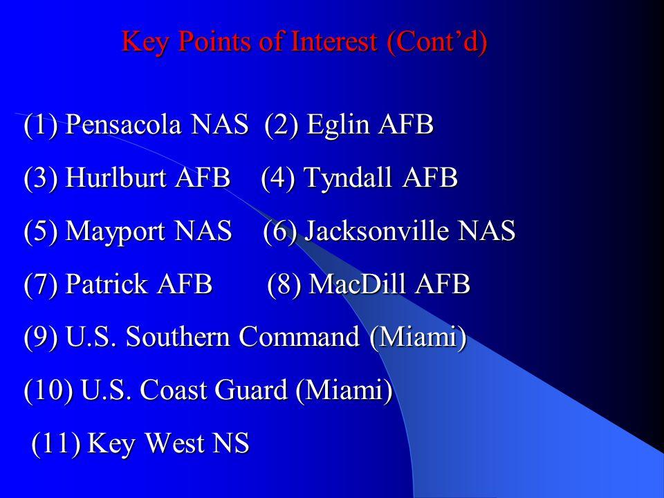 Key Points of Interest (Contd) (1) Pensacola NAS (2) Eglin AFB (3) Hurlburt AFB (4) Tyndall AFB (5) Mayport NAS (6) Jacksonville NAS (7) Patrick AFB (
