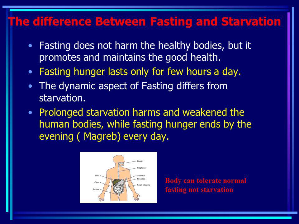 The difference Between Fasting and Starvation Fasting does not harm the healthy bodies, but it promotes and maintains the good health. Fasting hunger