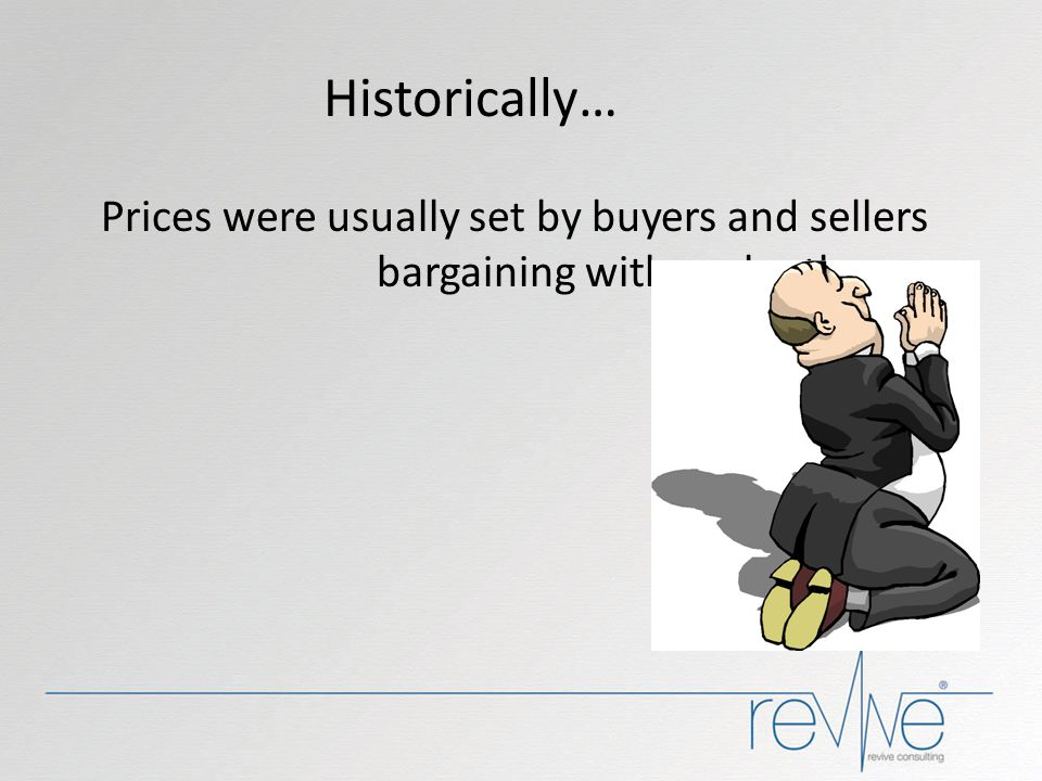 Historically… Prices were usually set by buyers and sellers bargaining with each other. BUT NOW...