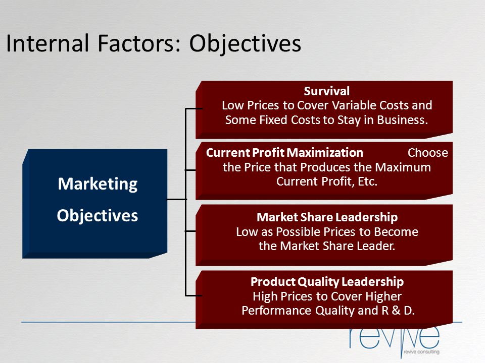 Internal Factors: Objectives Marketing Objectives Survival Low Prices to Cover Variable Costs and Some Fixed Costs to Stay in Business. Current Profit