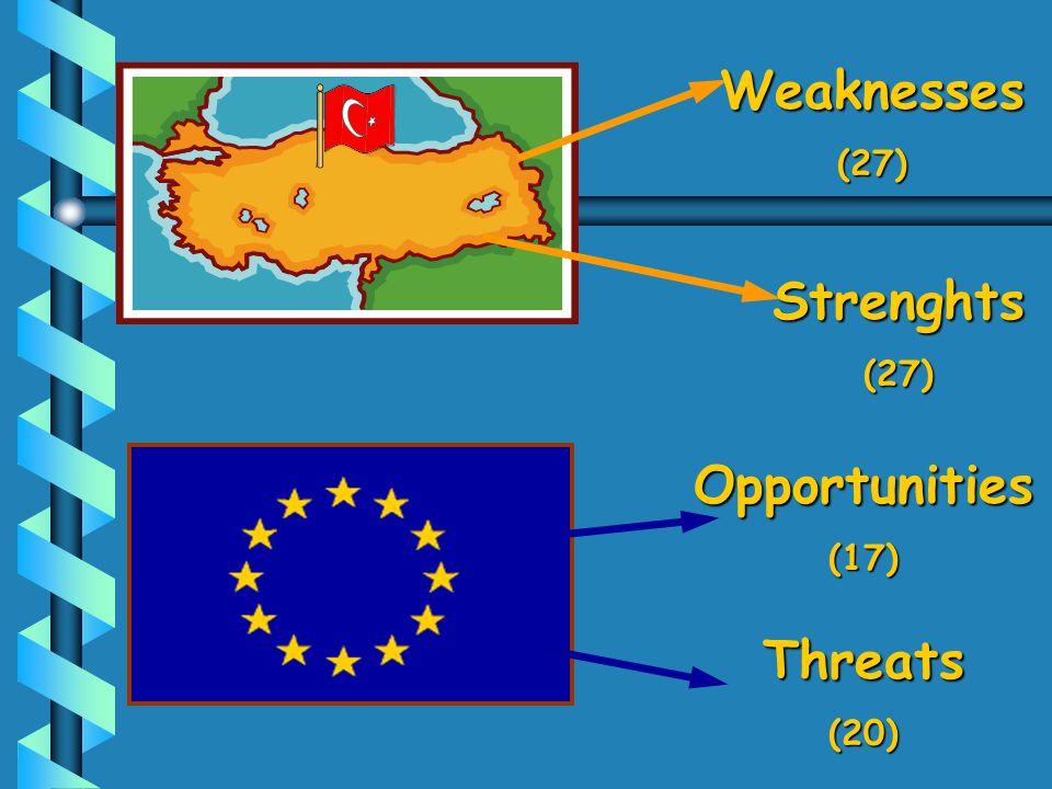 Strenghts(27) Weaknesses(27) Opportunities(17) Threats(20)