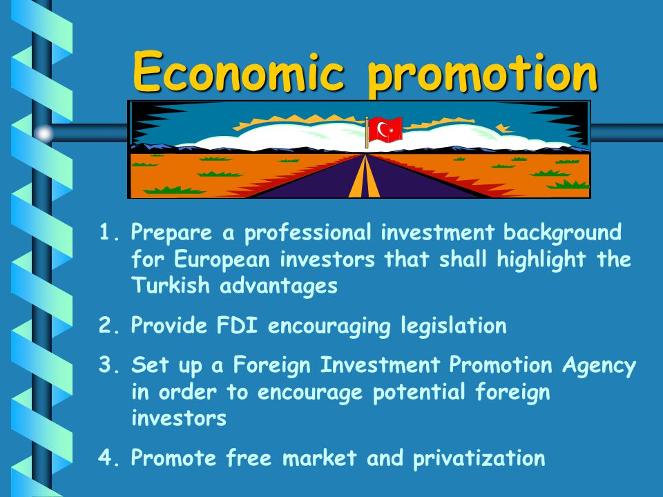 1. 1.Prepare a professional investment background for European investors that shall highlight the Turkish advantages 2. 2.Provide FDI encouraging legi