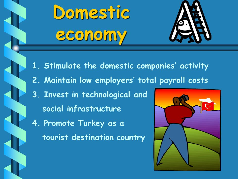 1. 1.Stimulate the domestic companies activity 2. 2.Maintain low employers total payroll costs 3. 3.Invest in technological and social infrastructure