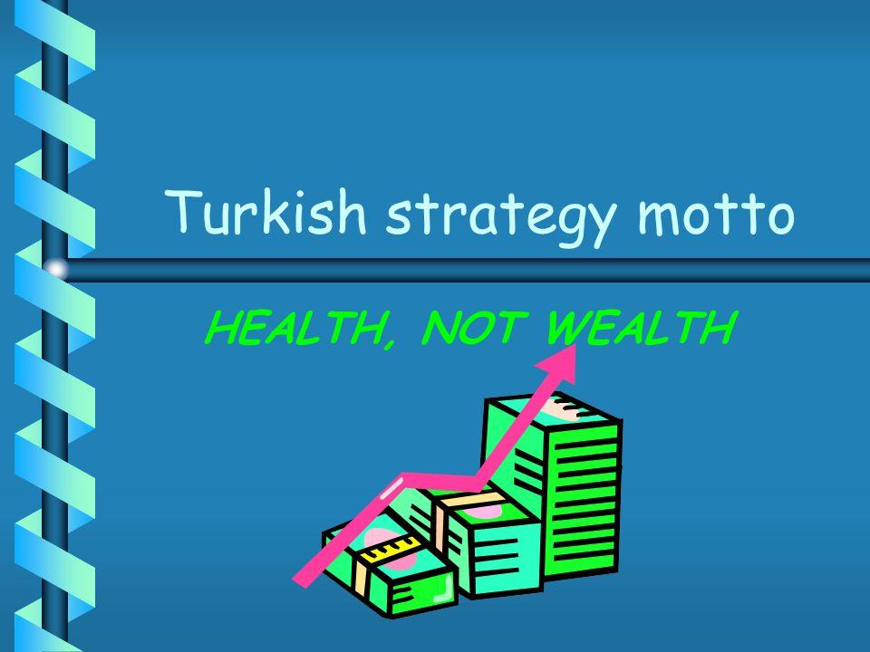 Turkish strategy motto HEALTH, NOT WEALTH